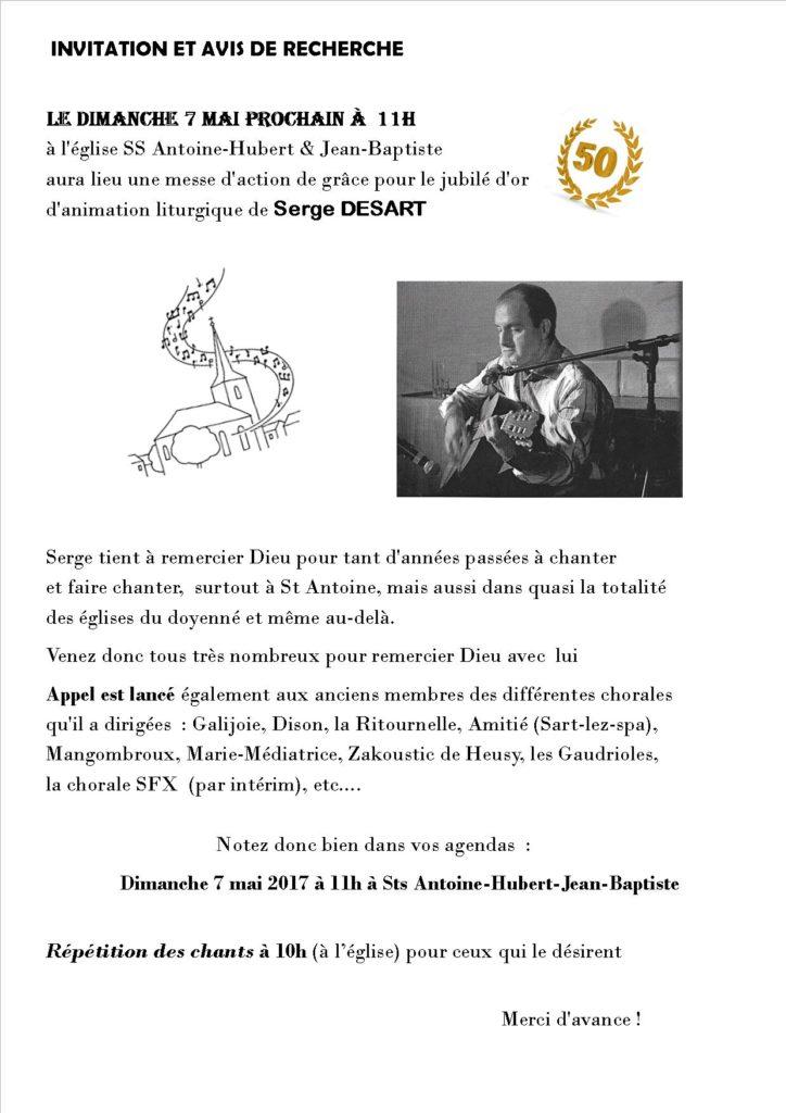 Messe d'action de grâce pour le jubilé d'or de Serge DESART @ Eglise St Antoine et Hubert